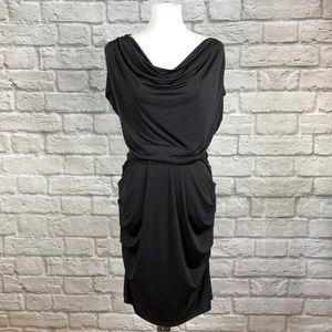 BR Monogram Black Drape Dress